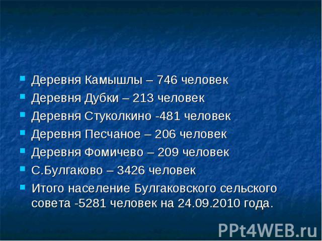 Деревня Камышлы – 746 человекДеревня Дубки – 213 человекДеревня Стуколкино -481 человекДеревня Песчаное – 206 человекДеревня Фомичево – 209 человекС.Булгаково – 3426 человекИтого население Булгаковского сельского совета -5281 человек на 24.09.2010 года.