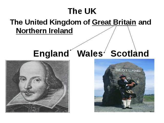 The United Kingdom of Great Britain and Northern IrelandEngland Wales Scotland