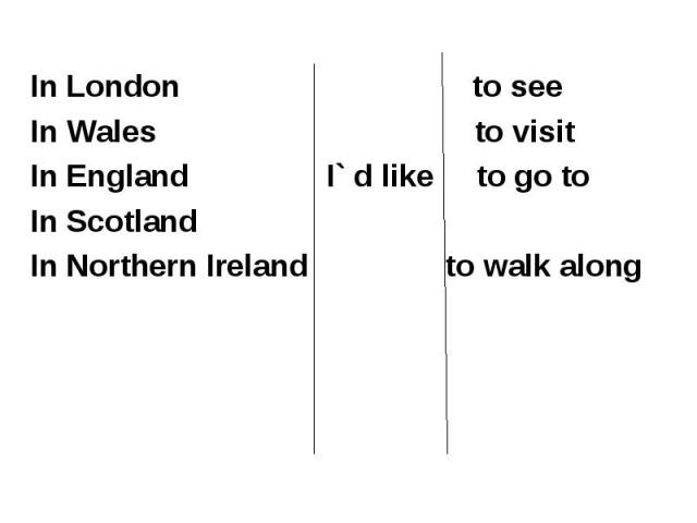 In London to see In Wales to visitIn England I` d like to go toIn Scotland In Northern Ireland to walk along