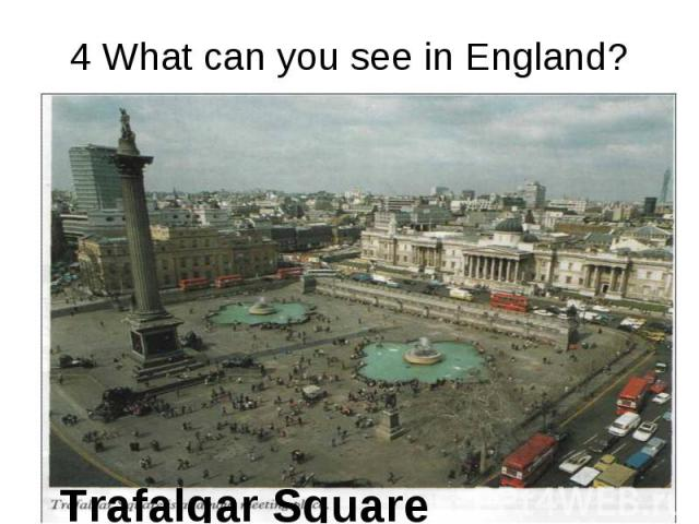 4 What can you see in England? Trafalgar Square