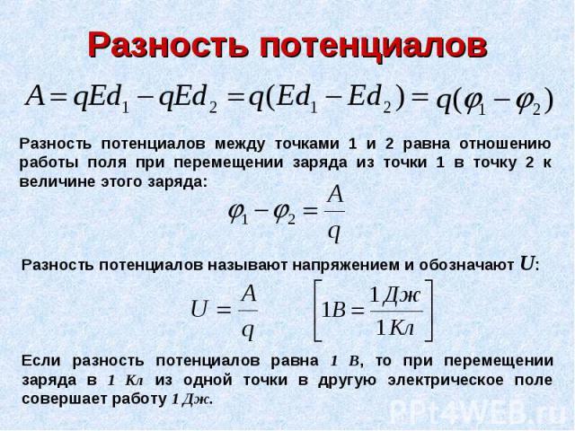Разность потенциалов Разность потенциалов между точками 1 и 2 равна отношению работы поля при перемещении заряда из точки 1 в точку 2 к величине этого заряда: Разность потенциалов называют напряжением и обозначают U: Если разность потенциалов равна …