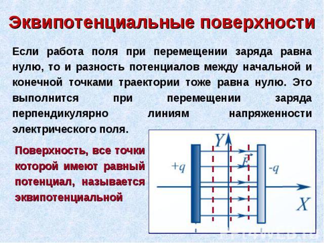 Если работа поля при перемещении заряда равна нулю, то и разность потенциалов между начальной и конечной точками траектории тоже равна нулю. Это выполнится при перемещении заряда перпендикулярно линиям напряженности электрического поля. Поверхность,…