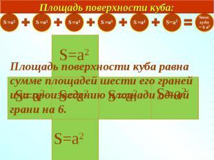 Площадь поверхности куба равна сумме площадей шести его граней или произведению