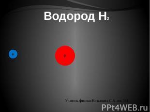 Водород H2 Учитель физики Козьякова С.А. шк.341.