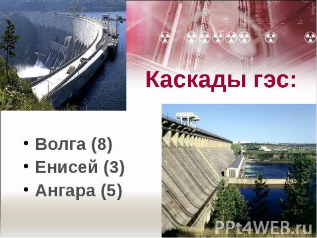 Каскады гэс: Волга (8)Енисей (3)Ангара (5)
