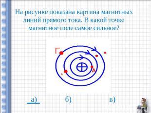На рисунке показана картина магнитных линий прямого тока. В какой точке магнитно