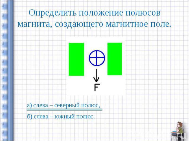Определить положение полюсов магнита, создающего магнитное поле. а) слева – северный полюс,б) слева – южный полюс.
