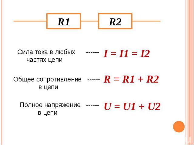 Сила тока в любых ------ частях цепи I = I1 = I2 Общее сопротивление ------ в цепи R = R1 + R2 Полное напряжение ------ в цепи U = U1 + U2