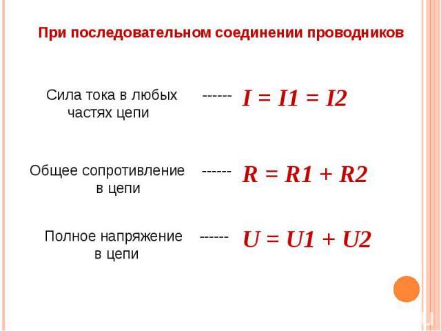 При последовательном соединении проводников Сила тока в любых ------ частях цепи I = I1 = I2 Общее сопротивление ------ в цепи R = R1 + R2 Полное напряжение ------ в цепи U = U1 + U2