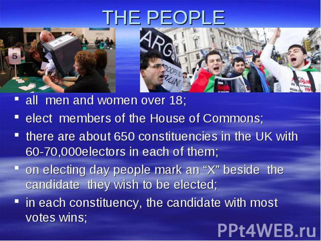 "THE PEOPLE all men and women over 18;elect members of the House of Commons;there are about 650 constituencies in the UK with 60-70,000electors in each of them;on electing day people mark an ""X"" beside the candidate they wish to be elected; in each c…"
