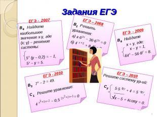 Задания ЕГЭ ЕГЭ - 2007В4 Найдите наибольшее значение х∙у, где (х;∙у) – решение с