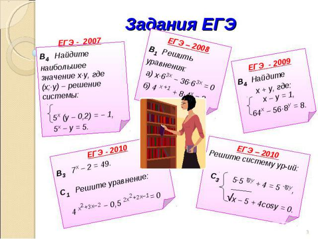 Задания ЕГЭ ЕГЭ - 2007В4 Найдите наибольшее значение х∙у, где (х;∙у) – решение системы: 5х (у – 0,2) = − 1, 5х – у = 5. ЕГЭ – 2008В1 Решить уравнения: а) х∙63х − 36∙63х = 0 б) 4 х +1 + 8∙4х = 3 ЕГЭ - 2009В4 Найдите х + у, где: х – у = 1, 64х – 56∙8у…