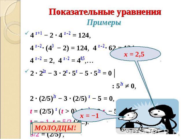 Примеры4 х + 1 − 2 ∙ 4 х – 2 = 124, 4 х – 2 ∙ (43 − 2) = 124, 4 х – 2 ∙ 62 = 124, 4 х – 2 = 2, 4 х - 2 = 40,5,… 2 ∙ 22х − 3 ∙ 2х ∙ 5х − 5 ∙ 52х = 0│ : 52х ≠ 0, 2 ∙ (2/5)2х − 3 ∙ (2/5) х − 5 = 0, t = (2/5) х (t > 0), 2t 2 − 3 t − 5 = 0, t = − 1, t = …