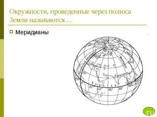 Окружности, проведенные через полюса Земли называются…Меридианы