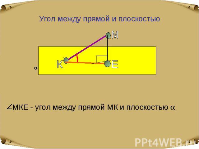 Угол между прямой и плоскостью МКЕ - угол между прямой МК и плоскостью