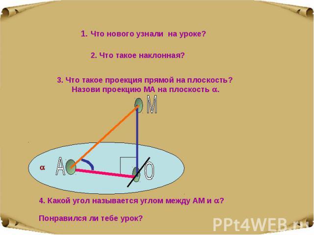 1. Что нового узнали на уроке? 2. Что такое наклонная? 3. Что такое проекция прямой на плоскость? Назови проекцию МА на плоскость . 4. Какой угол называется углом между АМ и ? Понравился ли тебе урок?