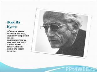 Жак Ив Кусто «Самовыживание человека, как вида, зависит от сохранения океана, ра