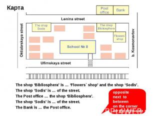 The shop 'Bibliosphera' is … 'Flowers` shop' and the shop 'Sodis'. The shop 'Sod