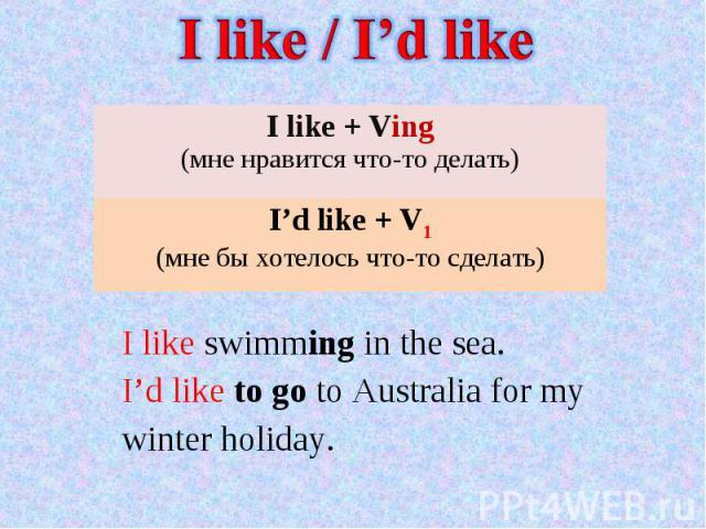 I like / I'd like I like + Ving(мне нравится что-то делать I'd like + V1(мне бы хотелось что-то сделать) I like swimming in the sea. I'd like to go to Australia for my winter holiday.