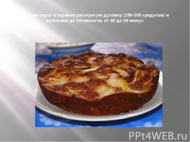 Ставим пирог в заранее разогретую духовку (180-200 градусов) и выпекаем до готовности, от 40 до 60 минут.