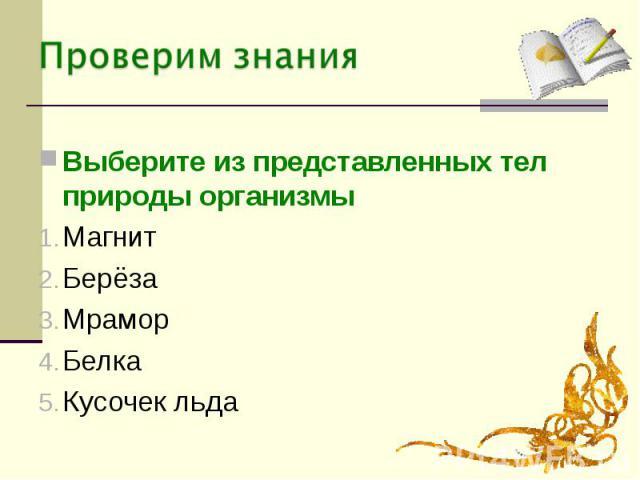 Выберите из представленных тел природы организмыМагнитБерёзаМраморБелкаКусочек льда