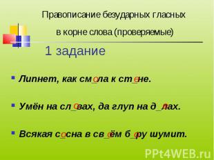 Правописание безударных гласных в корне слова (проверяемые) Липнет, как см_ла к