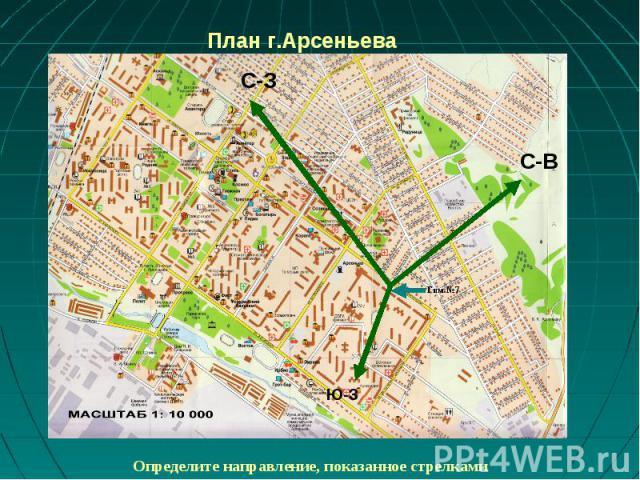 План г.Арсеньева Определите направление, показанное стрелками