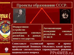 Проекты образования СССР. Федеративное устройство – равноправие союзных республи