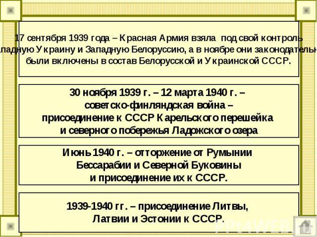 17 сентября 1939 года – Красная Армия взяла под свой контрольЗападную Украину и Западную Белоруссию, а в ноябре они законодательно были включены в состав Белорусской и Украинской СССР. 30 ноября 1939 г. – 12 марта 1940 г. – советско-финляндская войн…