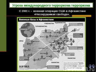 Угроза международного терроризма терроризма С 2001 г. - военная операция США в А