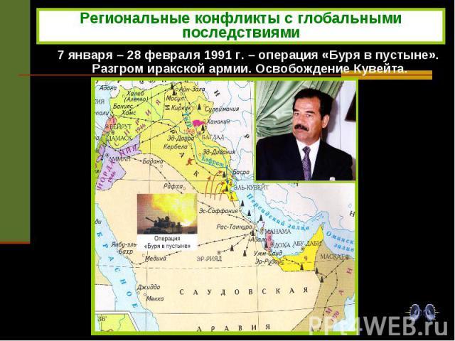 Региональные конфликты с глобальными последствиями 7 января – 28 февраля 1991 г. – операция «Буря в пустыне». Разгром иракской армии. Освобождение Кувейта.