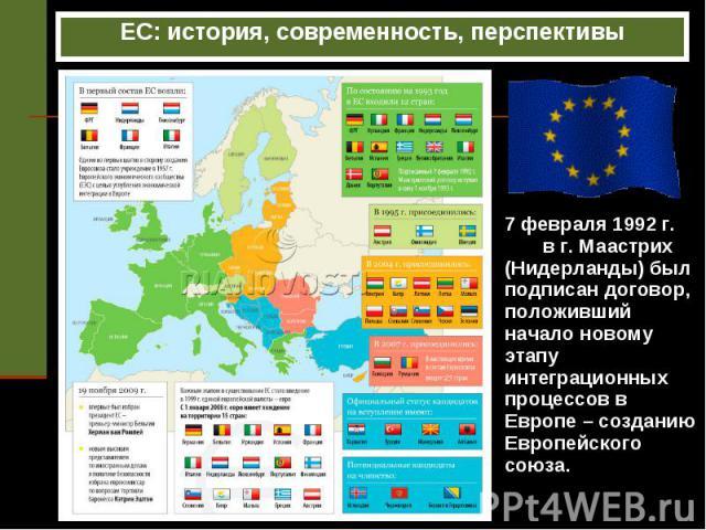 ЕС: история, современность, перспективы 7 февраля 1992 г. в г. Маастрих (Нидерланды) был подписан договор, положивший начало новому этапу интеграционных процессов в Европе – созданию Европейского союза.