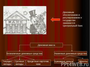 Денежным обеспечением и регулированием вгосударстве занимаетсяЦентральный банк