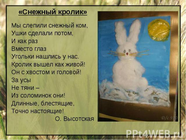 «Снежный кролик»Мы слепили снежный ком,Ушки сделали потом,И как разВместо глазУгольки нашлись у нас.Кролик вышел как живой!Он с хвостом и головой!За усыНе тяни –Из соломинок они!Длинные, блестящие,Точно настоящие! О. Высотская