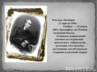 Маттиас Шлейден (5 апреля 1804, Гамбург — 23 июня 1881, Франкфурт-на-Майне) - не