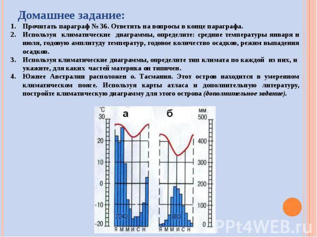 Прочитать параграф № 36. Ответить на вопросы в конце параграфа.Используя климатические диаграммы, определите: средние температуры января и июля, годовую амплитуду температур, годовое количество осадков, режим выпадения осадков.Используя климатически…