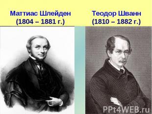 Маттиас Шлейден(1804 – 1881 г.) Теодор Шванн(1810 – 1882 г.)