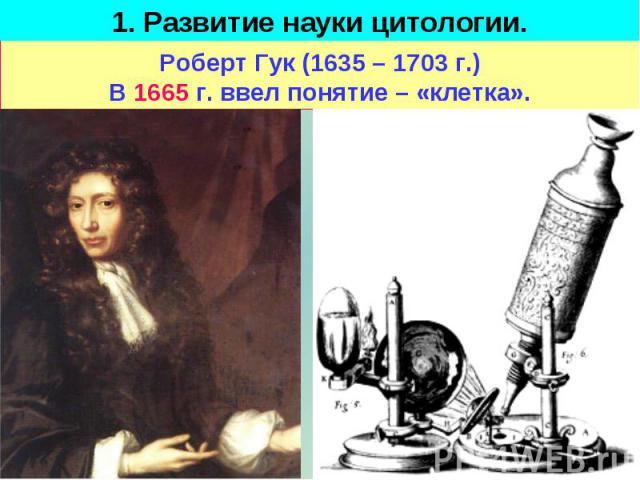 1. Развитие науки цитологии. Роберт Гук (1635 – 1703 г.)В 1665 г. ввел понятие – «клетка».