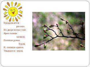 Продолжается рассказ.На дворе весна у нас.Ярко солнце засияло,Потекли ручьи, бур