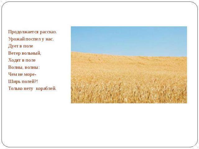 Продолжается рассказ.Урожай поспел у нас.Дует в поле Ветер вольный,Ходят в полеВолны, волны:Чем не море-Ширь полей?!Только нету кораблей.
