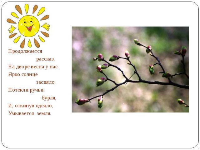 Продолжается рассказ.На дворе весна у нас.Ярко солнце засияло,Потекли ручьи, бурля,И, откинув одеяло,Умывается земля.