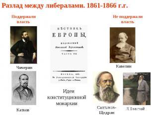 Разлад между либералами. 1861-1866 г.г. Поддержали власть Чичерин Катков Идеи ко