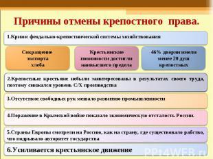 Причины отмены крепостного права. 1.Кризис феодально-крепостнической системы хоз