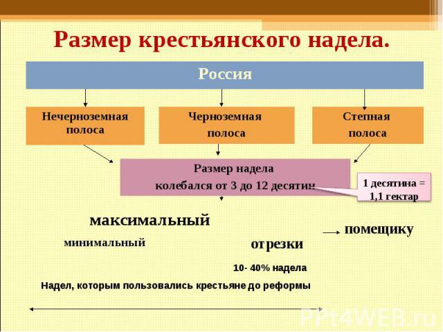 Размер крестьянского надела. Россия Нечерноземная полоса Черноземная полоса Степная полоса Размер надела колебался от 3 до 12 десятин