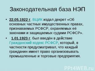 Законодательная база НЭП 22.05.1922г.ВЦИКиздал декрет «Об основных частных им