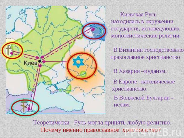 Киевская Русь находилась в окружении государств, исповедующих монотеистические религии. В Византии господствовало православное христианство В Хазарии –иудаизм. В Европе –католическое христианство. В Волжской Булгарии - ислам. Теоретически Русь могла…