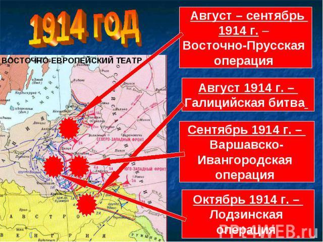 Август – сентябрь 1914 г. – Восточно-Прусская операция Август 1914 г. – Галицийская битва Сентябрь 1914 г. – Варшавско-Ивангородская операция Октябрь 1914 г. – Лодзинская операция
