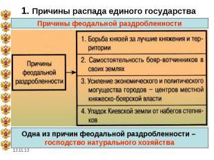 1. Причины распада единого государства Причины феодальной раздробленности Одна и