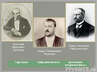 Николай Иванович Путилов Савва Тимофеевич Морозов Павел Павлович Рябушинский