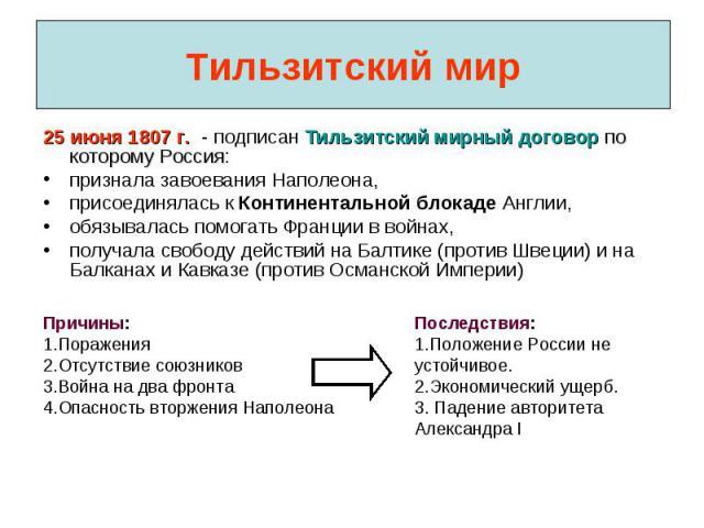 Тильзитский мир 25 июня 1807 г. - подписан Тильзитский мирный договор по которому Россия:признала завоевания Наполеона,присоединялась к Континентальной блокаде Англии,обязывалась помогать Франции в войнах,получала свободу действий на Балтике (против…